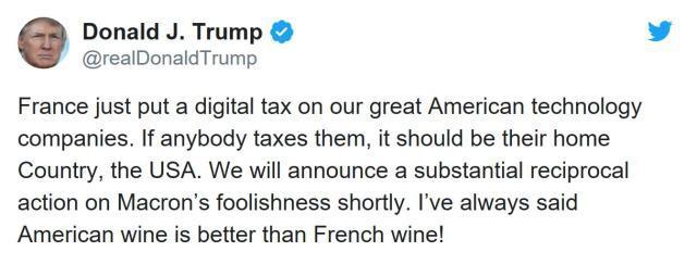 特朗普推特twitter回应法国征科技税