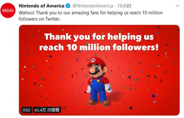 任天堂twitter推特关注量突破1000万