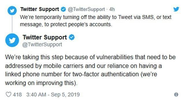 Twitter停用通过SMS发布推文的功能